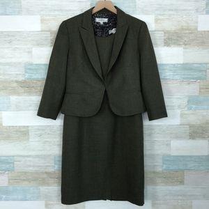 Sheath Dress Suit Blazer Set Green Kasper
